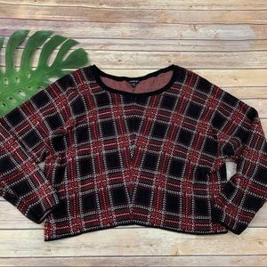 Torrid red black plaid cropped pullover sweater